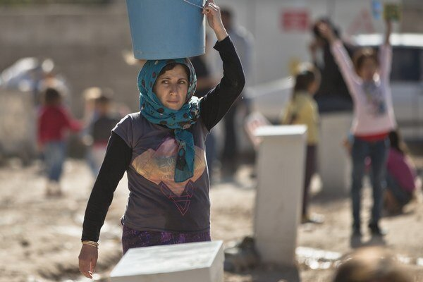 Kurdská utečenkyňa zo sýrskeho mesta Kobané.