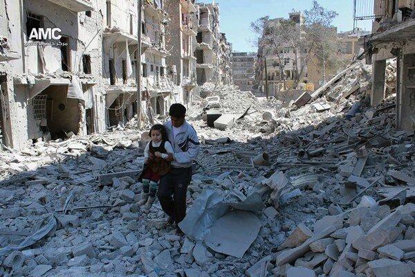 Zničené Aleppo v apríli 2014.