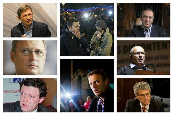 Zľava dole: Ryžkov, Kasjanov, Javlinskij, Jašin, Navaľnij, Kasparov, Chodorkovskij, Gozman.