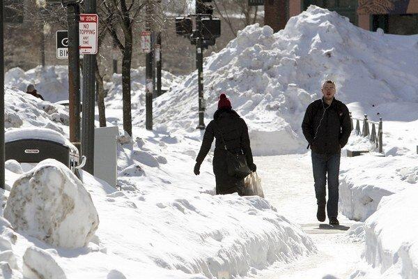 Zasnežené centrum Bostonu.