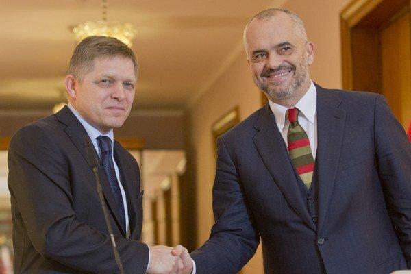 Robert Fico a predseda albánskej vlády Edi Rama v Tirane.