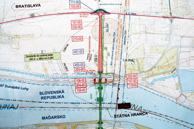 Projekt Nový cestný most cez Dunaj medzi mestami Komárno – Komárom – prístupová cesta.