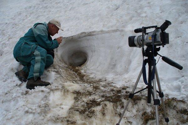 Spod lavíny. Aj takto vyhrabávajú svišťov spod masy snehu.