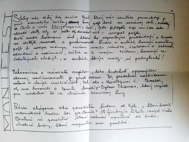 Rukopis manifestu Osamelých bežcov z roku 1963.