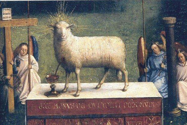 Obeť Baránka božieho v centrálnej časti oltára.