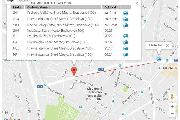 Dopravca Urobil Mapu S Polohou Liniek Bratislava Sme