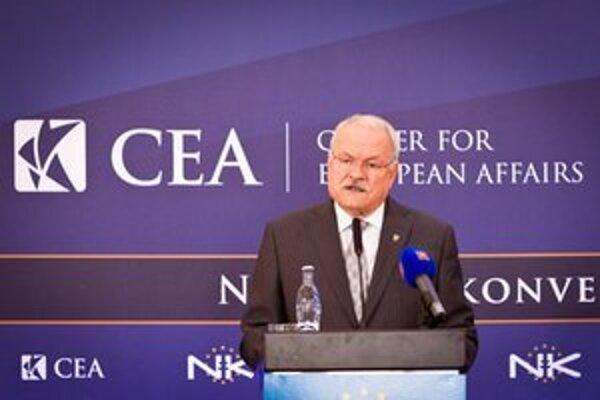 Prezident Ivan Gašparovič počas plenárneho zasadnutia Národného konventu o Európskej únii.
