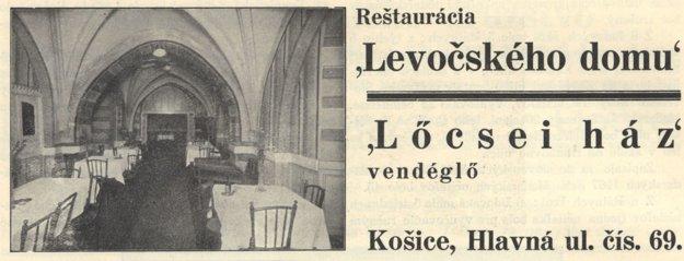Dobová reklama Levočského domu.