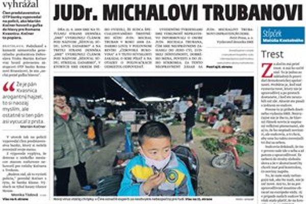 Titulná strana denníka SME 26. 4. 2013.