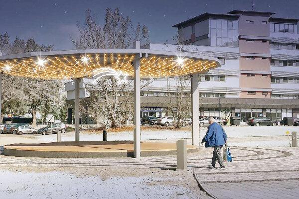 Takto bude osvetlené pódium, ktoré postavili nedávno ako súčasť prestavby pešej zóny neďaleko kina Mier.