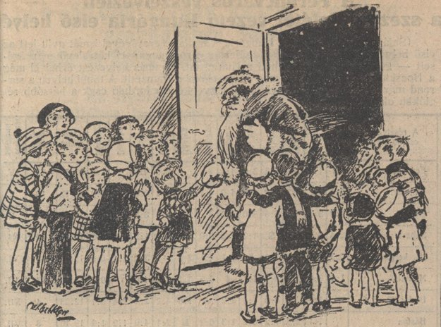 Príchod sv. Mikuláša na dobovej kresbe z košických novín z roku 1928.