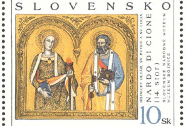 Na známke z roku 1997 je Bojnický oltár.
