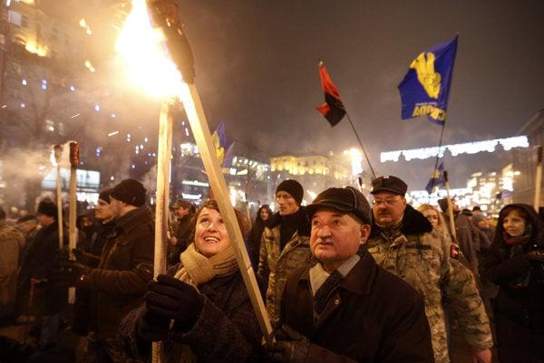 Pochod nacionalistov v Kyjeve.