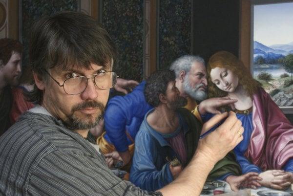 Stanislav Lajda pri rekonštruovaní Leonardovej Poslednej večere.