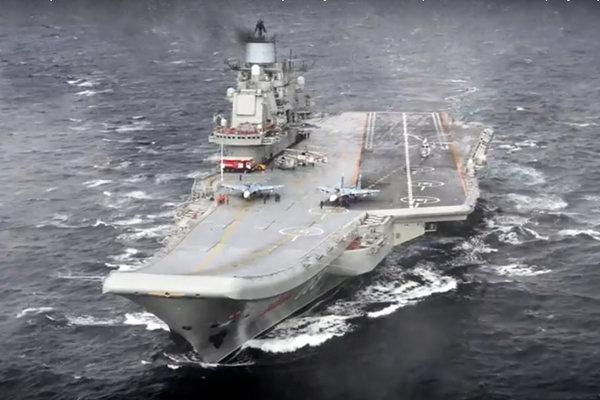 Ruská lietadlová loď Admirál Kuznecov.