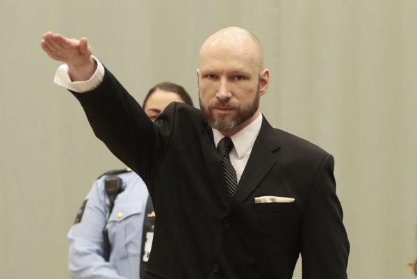 Breivik počas odvolacieho súdu.