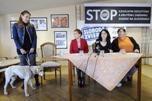 Tatiana Rosová (druhá zľava) počas tlačovej konferencie Slobody zvierat.