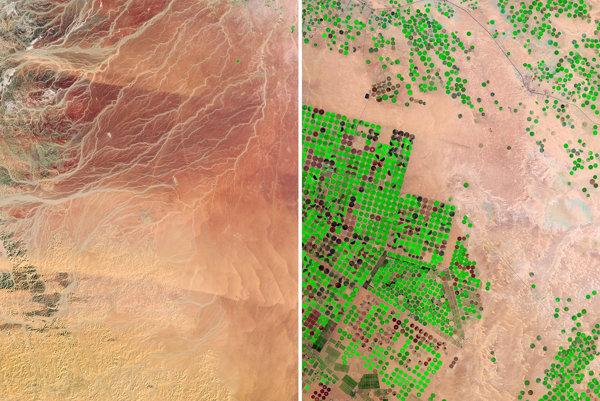 Púšť v Saudskej Arábii dokázali premeniť na zelené polia vďaka podzemnej vode.