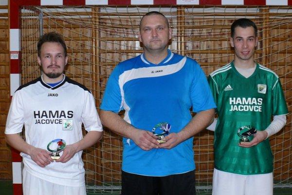 Zľava: najlepší hráč – Filip Buday (Hamas Omega), najlepší brankár – Rudolf Ryban (Hamas Omega) a najlepší strelec – Marek Pavlovič (Hamas Alfa).