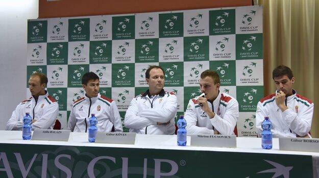 Na snímke zľava Levente Gödry, Attila Balázs, Gábor Köves, Márton Fucsovics a Gábor Borsos.