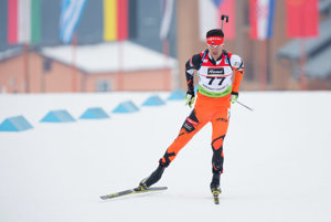 Na snímke slovenský biatlonista Matej Kazár počas šprintu mužov na 12,5 km v rámci 6. kola IBU Cup-u v biatlone v biatlonovom centre Osrblie