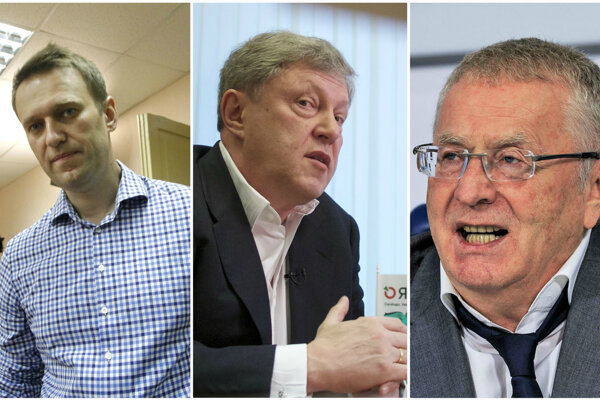 Vyzývatelia Vladimira Putina, zľava Alexej Navaľnyj, Grigorij Javlinskyj a Vladimir Žirinovskyj.