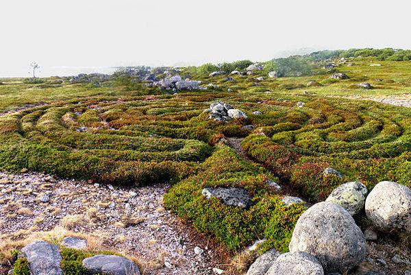 Jeden z 13 kamenných labyrintov na ruskom ostrove Bolshoi Zayatsky.