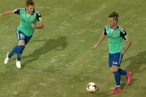 Juraj Kotula (vľavo) a Boris Bališ v zápase Spartak Trnava - FK Senica.