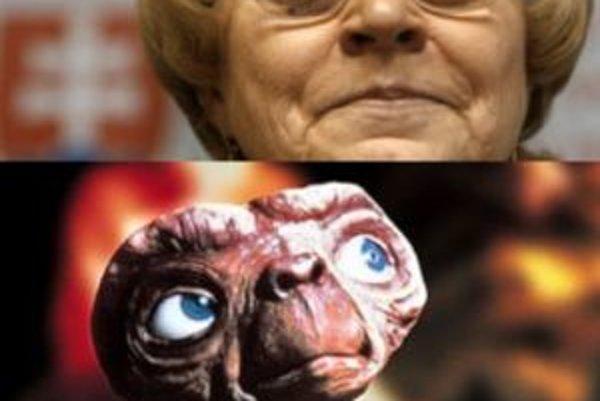 Ministerka práce, sociálnych vecí a rodiny (hore) a filmová postavička mimozemšťana - E.T., ku ktorej Rado Baťo ministerku prirovnal.