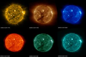 Šesť záberov Slnka vzniklo 29.1. 2017. Urobil ich satelit GOES-16 v šiestich rôznych kanáloch. Všetky zábery ukazujú veľkú koronálnu dieru v južnej hemisfére Slnka. Každý kanál sleduje Slnko v inej vlnovej dĺžke, čo pomáha lepšie predpovedať aj počasie na Zemi.
