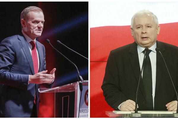 Donald Tusk (vľavo) a Jaroslaw Kaczynski.