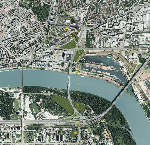 Predpokladaná trasa elektrickej dráhy ponad Dunaj.