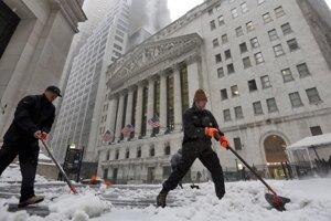 Sneženie v New Yorku.