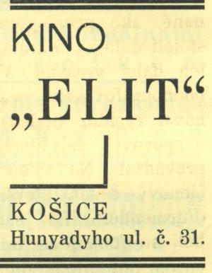 Kino Elite - dobová reklama.