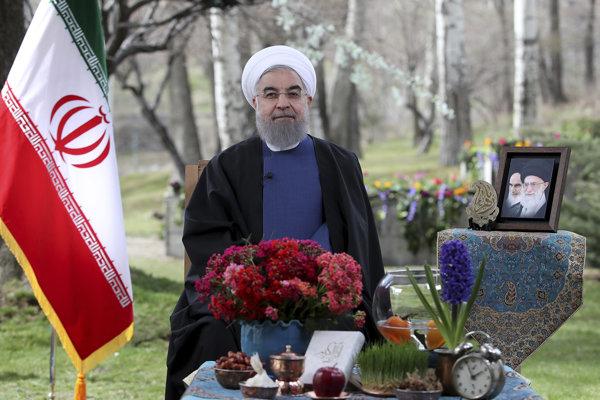 Iránsky prezident Hasan Ruháni počas slávnosti iránskeho Nového roku Novrúz.