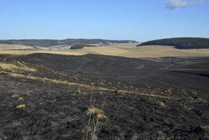 Zhorenisko po požiari pri Vrbove.