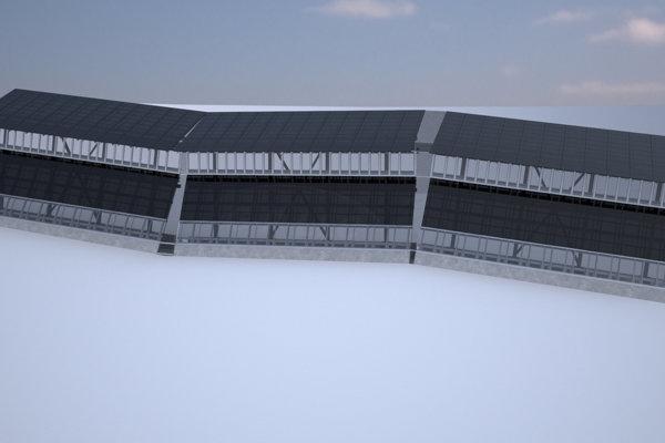 Model múru so solárnymi panelmi.