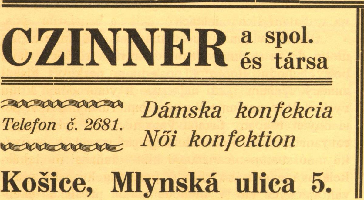 Obchod u Czinnera a spol. na dobovej reklame z r. 1932. b298783935a