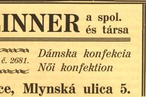 Obchod u Czinnera a spol. na dobovej reklame z r. 1932.