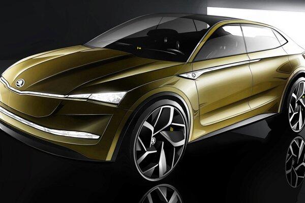 Štúdia elektromobilu Škoda Vision E. Vision E, ktorý bude mať premiéru na autosalóne v Šanghaji, predstavuje športovo-úžitkové vozidlo s čisto elektrickým pohonom.