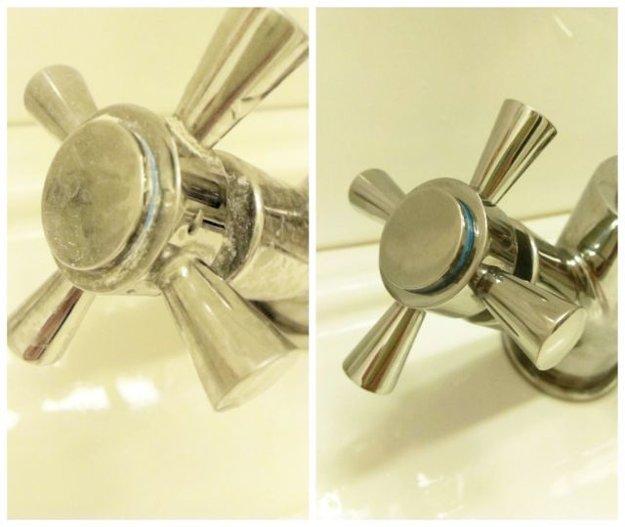 Vodný kameň v kúpeľni - pred a po použití octu