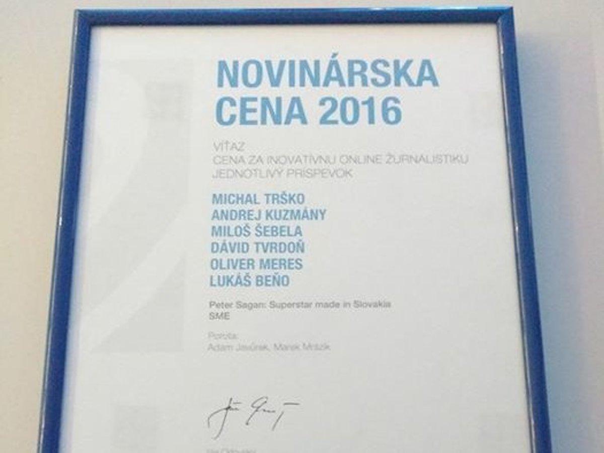 f8252fd7a Novinárske ceny poznajú víťazov, Sme získalo dve ocenenia - SME