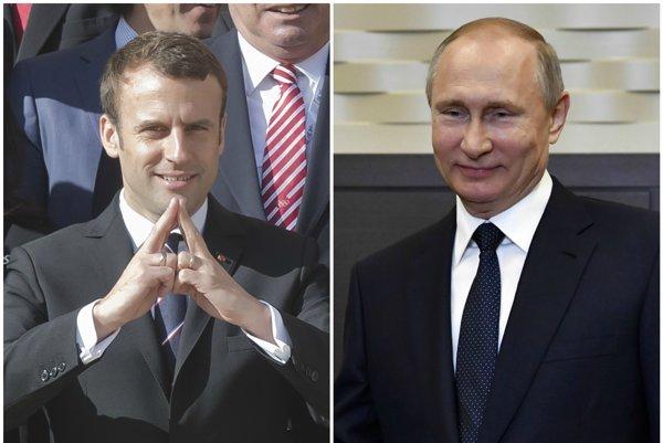 Emmanuel Macron a Vladimir Putin.