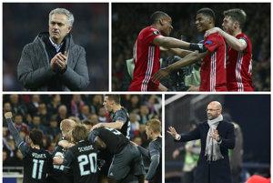 Bude triumfovať Mourinho a jeho Manchester? (hore) Alebo prekvapí Ajax s atraktívnou hrou?