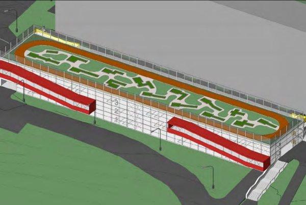 Vizualizácia plánovaného parkovacieho domu na sídlisku Dlhé diely.
