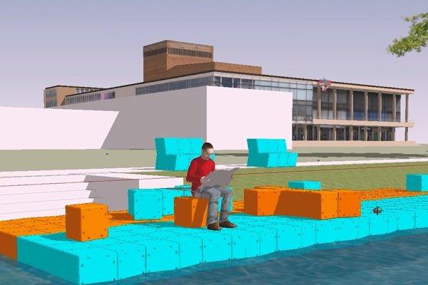 Pontónový most a lavičky. Moderný dizajn oddychovej zóny na brehoch náhonu.