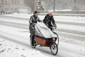 Obyvatelia Kodane jazdia na bicykli aj v zime.