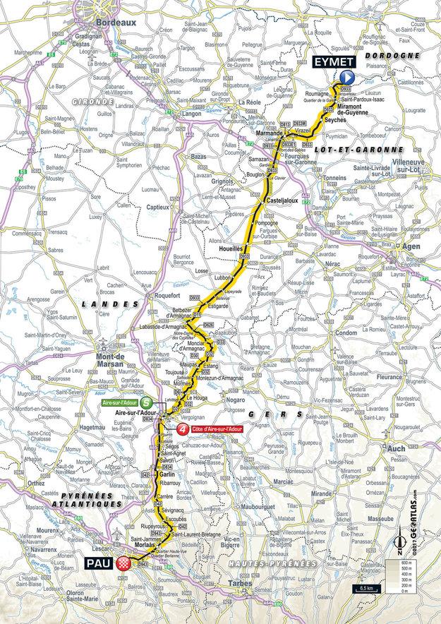 Mapa jedenástej etapy Tour de France 2017.