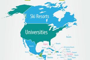 Kanada láka ľudí lyžiarskymi strediskami, USA zas univerzitami. Krajiny v Karibiku neprekvapili, ľudia v nich vyhľadávajú najmä najlepšie rezorty.