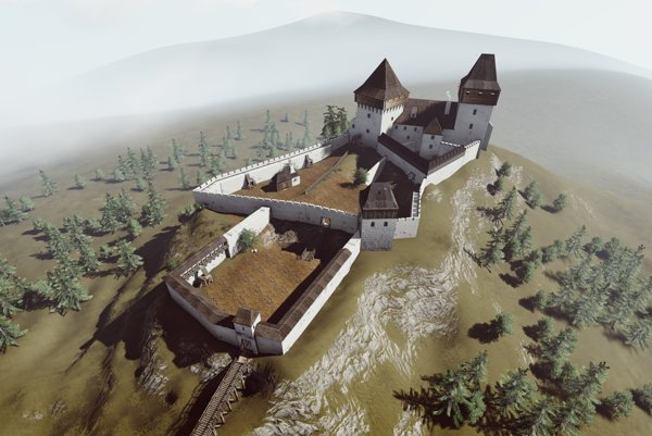 Vizualizácia Liptovského hradu.